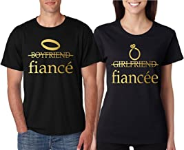 Allntrends Couple T Shirts Fiancee Fiance Love Engaged Proposal Matching Tees