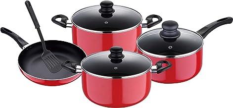 طقم اواني طهي مصنوع من الالمونيوم مكون من 8 قطع من رويال فورد RF7923، لون احمر