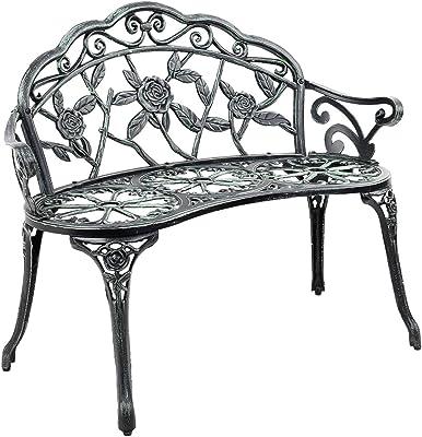 Gardeon Bench Outdoor Garden Park Chair Seat Relax Cast Aluminium Vintage Green