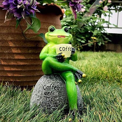 Aifeer Statue de grenouille verte assise sur une pierre en buvant du café - Décoration de jardin, terrasse, intérieur...