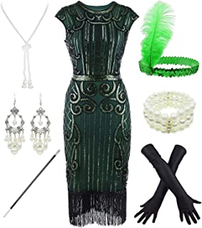 Women's 1920s Sequins Flapper Gatsby Cocktail Dress with 20s Headband Accessories Set