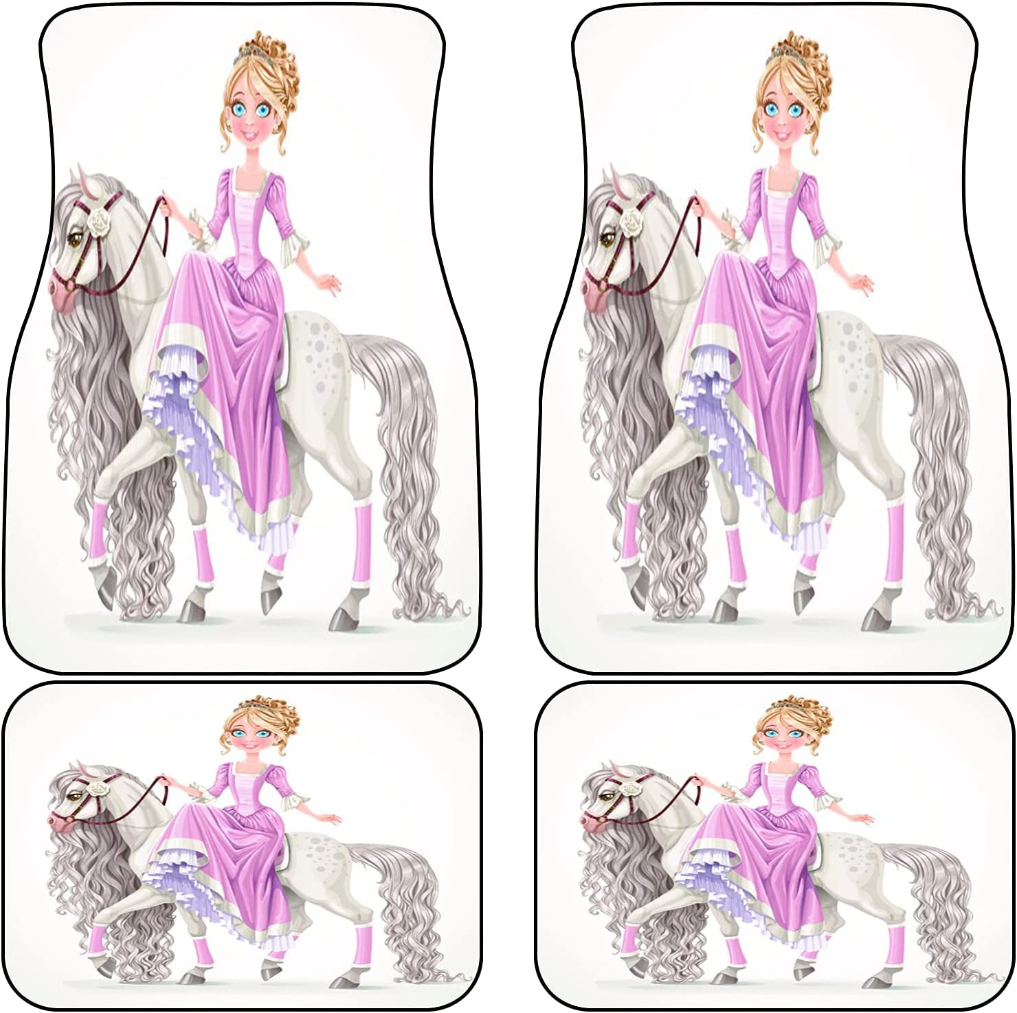 Max 69% OFF VINISATH Front Rear Car Mats Set of Fashionable Cute White 4 On A Princess