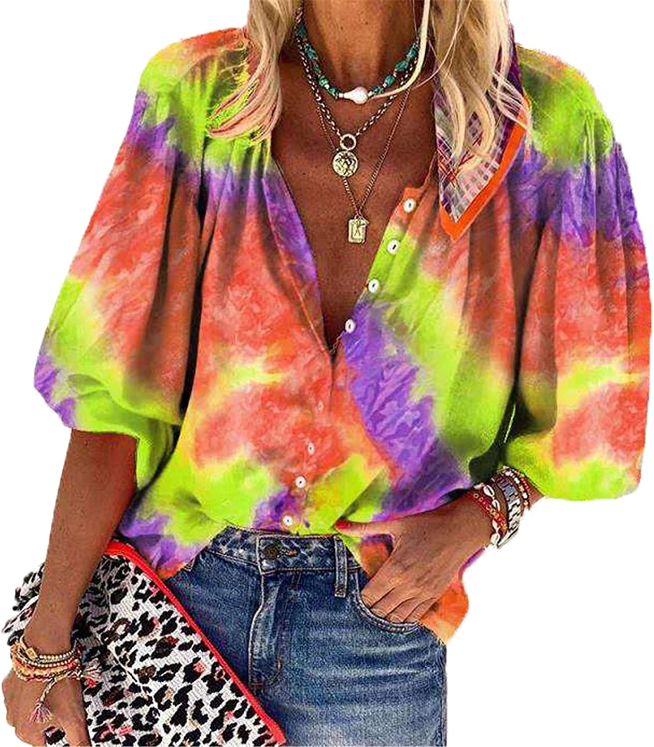 Andongnywell Tie dye Printed Blouses for Women Casual V Neck Womens Long Sleeve Button Down Tops Chiffon Shirts