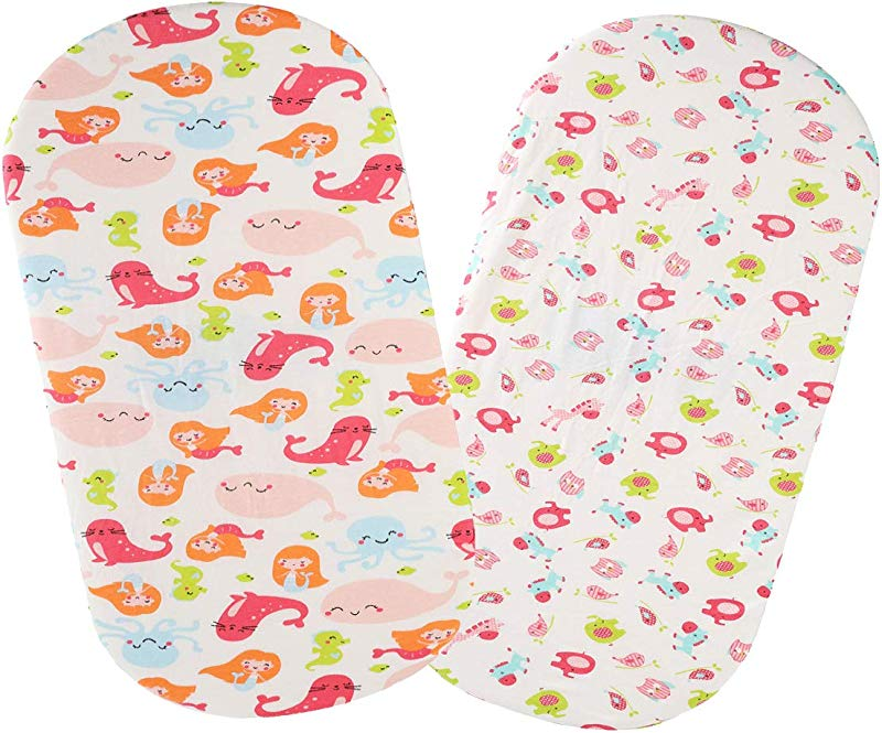 Bassinet Sheet Set 2 Pack 100 Jersey Knit Cotton Ultra Soft And Stretchy For Baby Girl Boy Mermaid Whale Sea Lion And Other Animal By Knlpruhk