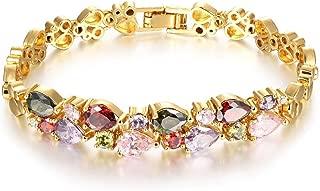 Kredy Women Bracelets, 18K Multi-Gemstone and Diamond Tennis Bracelet Gold Heart Bracelets for Women
