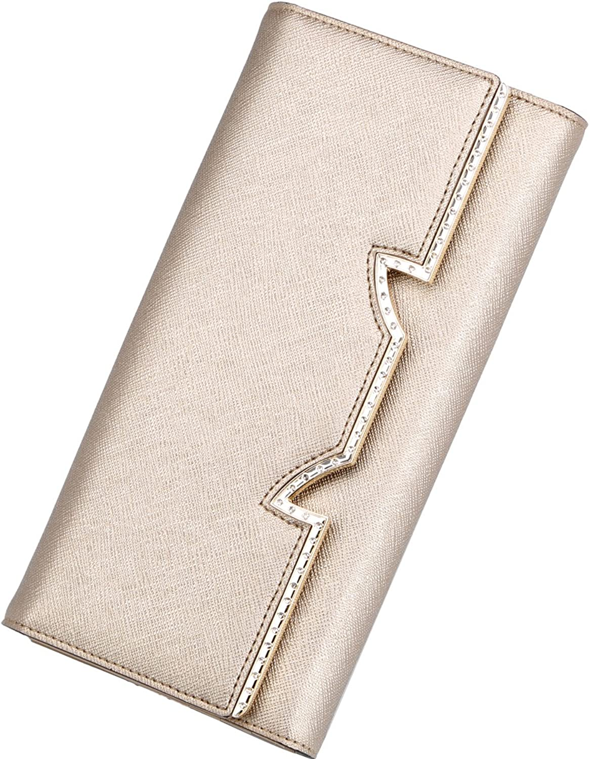 FOXER Women Leather Wallet Long Trifold Clutch Wallet Purse for Ladies, gold