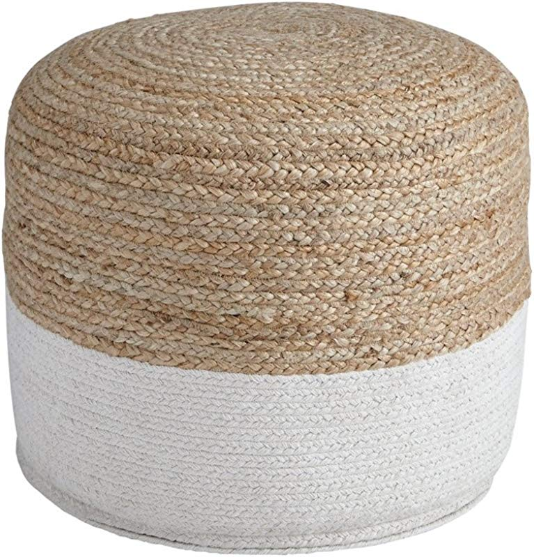 Ashley Furniture Signature Design Sweed Valley Pouf Comfortable Pouf Ottoman Casual Natural White