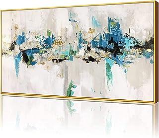 \u201cBlue Heart\u201d Custom framed Mid Century Style Original Acrylic Painting on linen board Black Yellow Art Blue