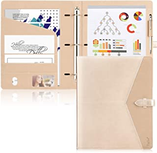 Toplive Padfolio 3 Ring Binder (1'' Round Ring) Business Portfolio Folder for..