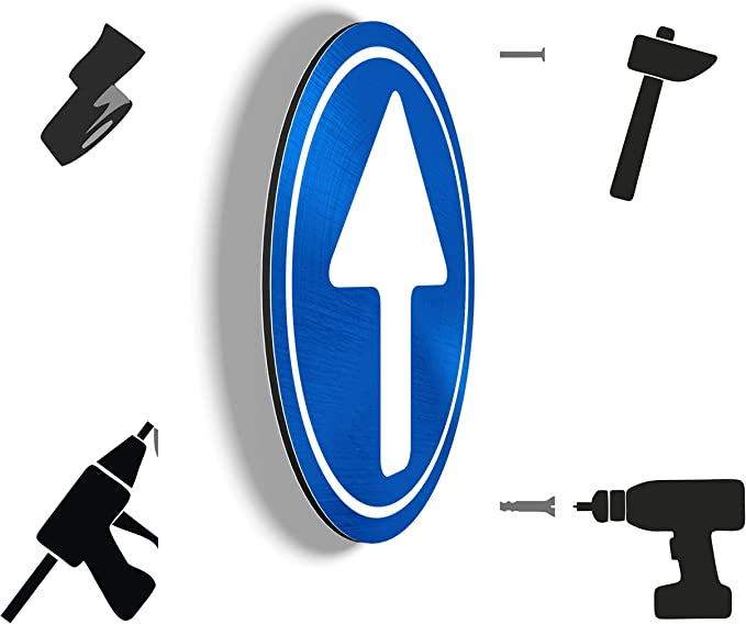 Fl/èche Mur Lot de 2 - 20 cm Porte de Garage Application sur Poteau Aluminium Ultra r/ésistant Obligation de Tourner Pas PVC imaggge.com Panneaux rigides Sens obligatoire