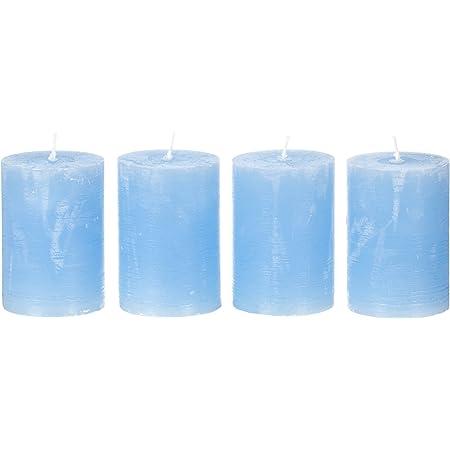 Stumpenkerze Kerze 4er Set blau 110x60mm hellblau