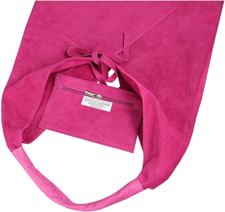OBC Sac à main en cuir pour femme XXL Fabriqué en Italie Format A4 Rose Bonbon