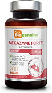 Megazyme Forte 200 Tabs - Natural Plant Proteolytic Enzymes | Digestive Support | Nattozimes | Serrazimes | Immune System Support | Detoxification Boost