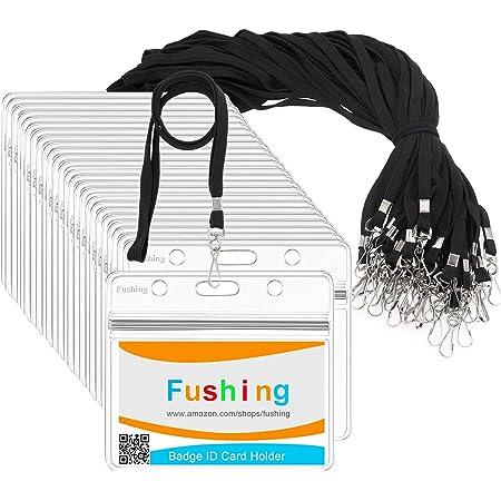 Fushing Lot de 30 porte-badges horizontaux en plastique transparent et 30 cordons plats et crochet pivotant
