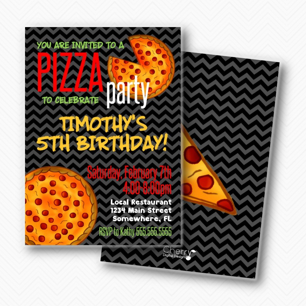Pizza Birthday Party Invitations Envelopes Included Portland Max 62% OFF Mall
