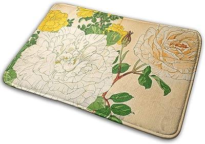 """Roses Japanese Woodblock Print Doormat Non Slip Indoor/Outdoor Door Mat Floor Mat Home Decor, Entrance Rug Rubber Backing Large 23.6""""(L) x 15.8""""(W)"""