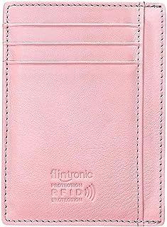 flintronic® Portefeuille en Cuir, Rosé Etui RFID Blocage Porte Carte de Crédit, Porte-Monnaie sans Zip