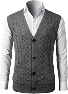 Men's V Neck Vest Knitwear Sweater Single Spring, Autumn Breast Waistcoat Button Solid-in V