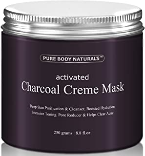 Pure Body Naturals Activated Charcoal Creme Face Mask, 8.8 ounces