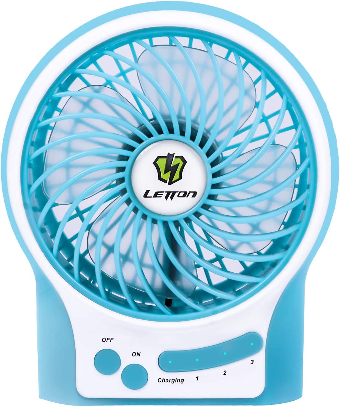 LETTON Portable Mini USB Fan Rechargeable Battery with 3 Speed LED Light for Home-Blue