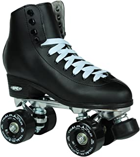 New! Men's Epic Classic Black High-Top Quad Roller Skates w/ 2 Pair of Laces (Black & White) 黑色 Size 8
