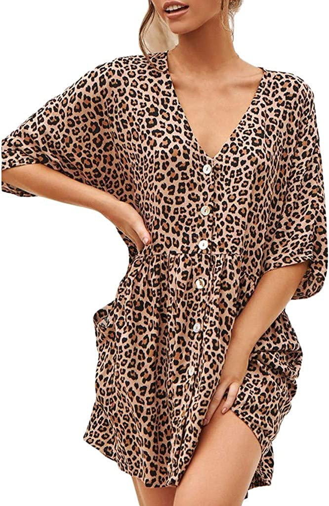 Lovor Women's Deep V Neck Button Down Oversize Leopard Floral Dress Short Sleeves Cover Up Top Mini Dresses with Pockets