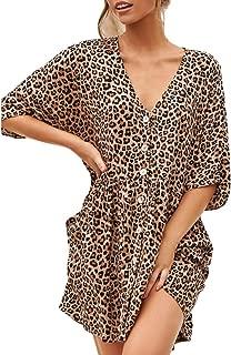 FAPIZI Women Leopard Printed 3/4 Sleeve V-Neck Single Breasted Loose Casual Pleated Hem Beach Dress Work Skirt
