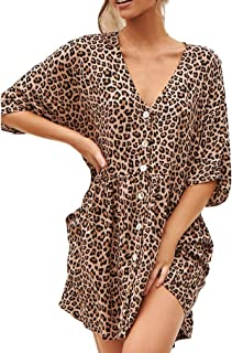 Rawdah_Donna Vestito Bianco Donna,Vestiti da Donna,Formale e Business,con Orlo a Palloncino,Stampa Ruffles Vestito Manica ...