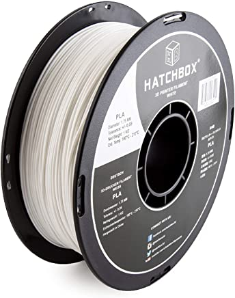 HATCHBOX PLA 3D Printer Filament, Dimensional Accuracy +/- 0.03 mm, 1 kg Spool, 1.75 mm, White (4 Pack)