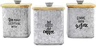 AuldHome Farmhouse Galvanized Canisters (Set of 3); Storage Containers for Coffee, Tea and Sugar in Galvanized Iron and Wood Design