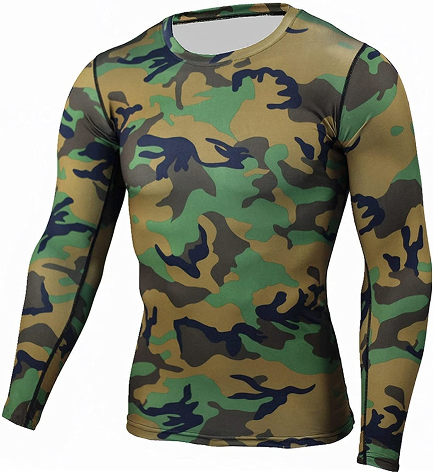 ZYKBB Thermal Underwear Men Quick Dry Sport Clothes for Men Camouflage Underwear Top Inner Shirt (Color : B, Size : XXL code)