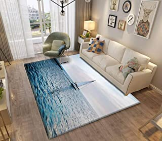 Area Rug and Carpet for Home Living Room, yacht and lighthouse at the sunset in the blue sea oil painting Large Anti Slip ...