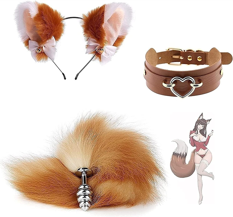 Our shop most popular 3Pcs Set Brown Fluffy Fox service Tail Cosplay Bùtt Plùg Costume Ã
