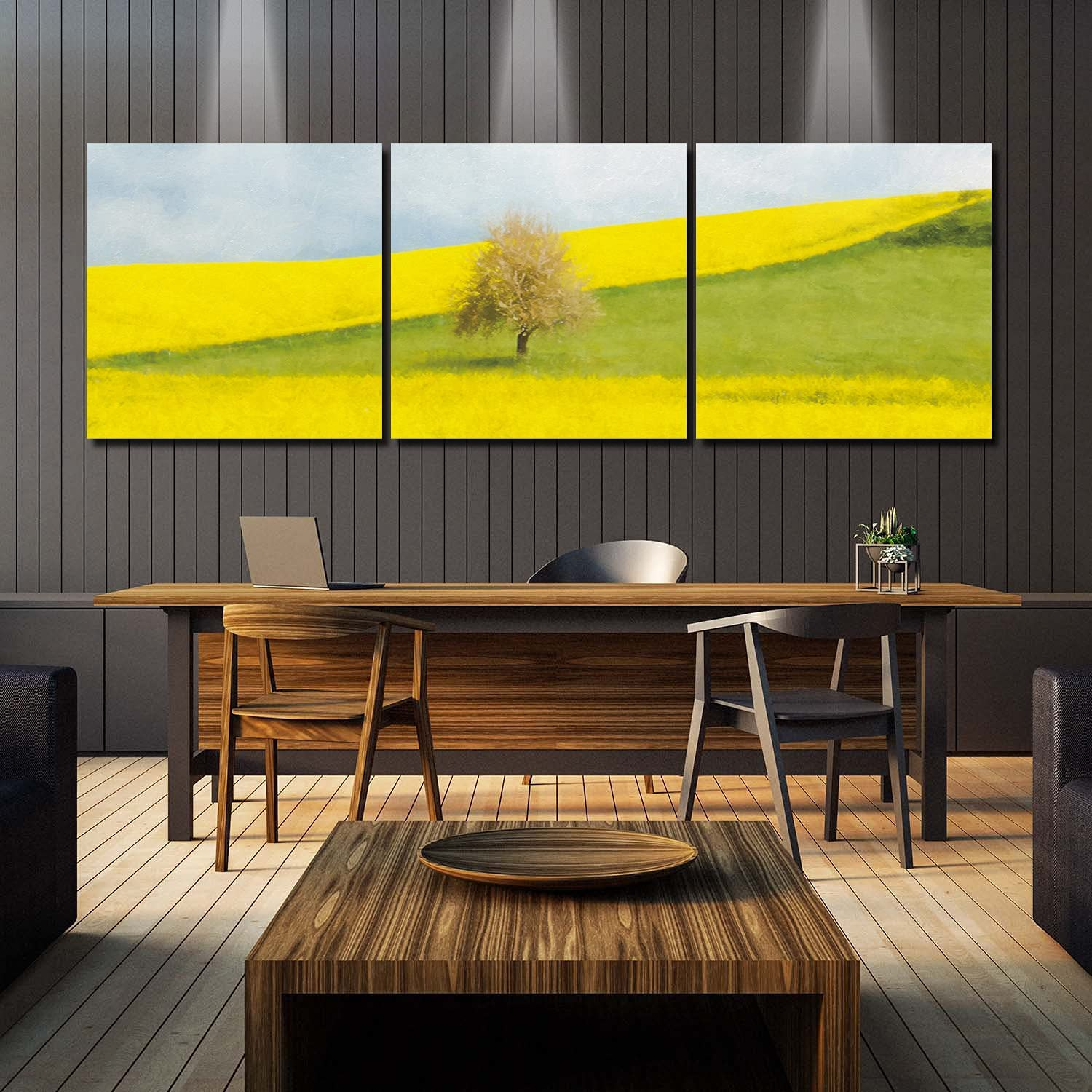 Framed Wall Recommended Art Green and half Yellow Canvas Grassland Panel Prints 3