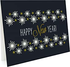 product image for Golden New Year Holiday Cards, 10-Pack by Night Owl Paper Goods