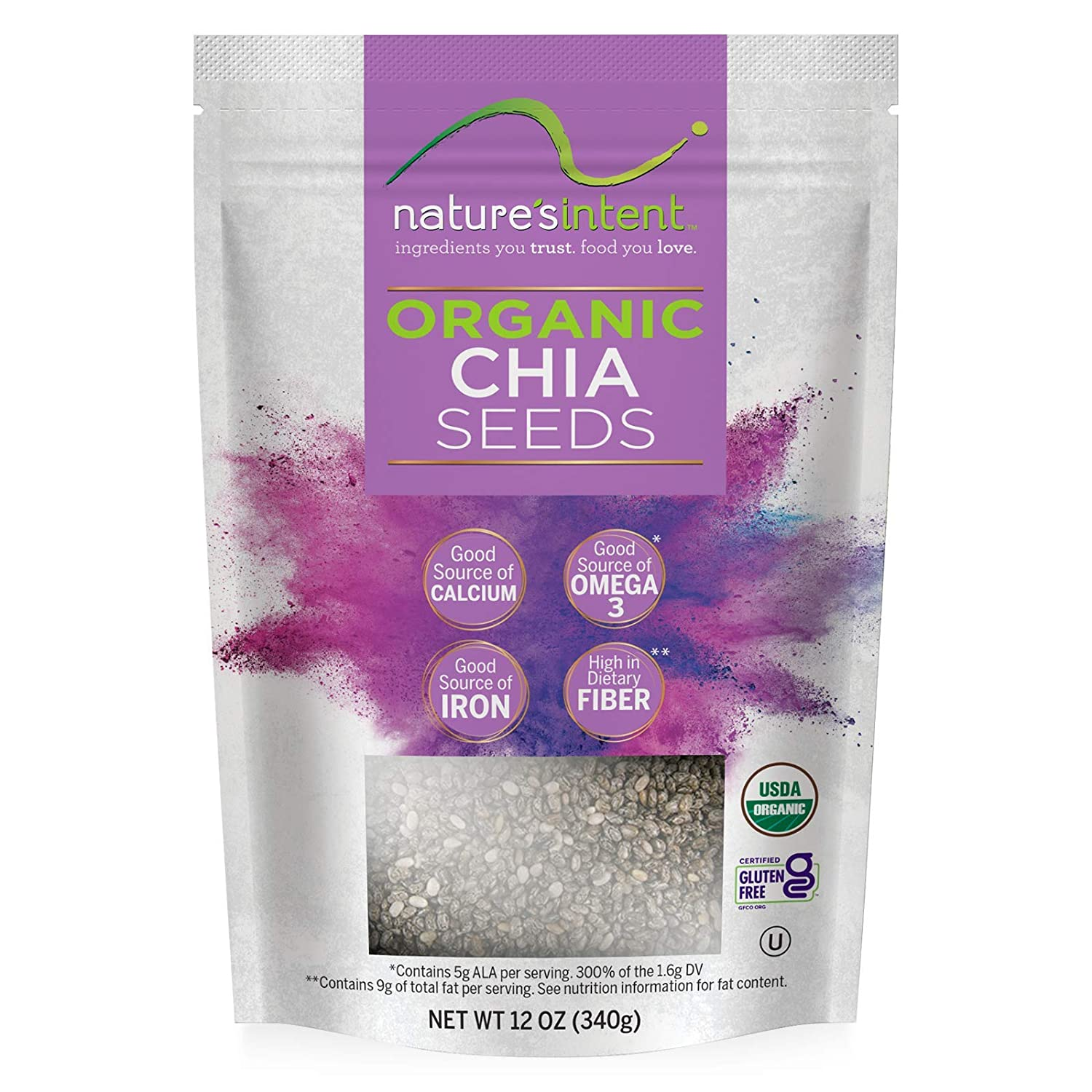 Nature's Intent Organic Chia Seeds -3 Max 55% OFF USDA 12 Choice - Orga Pack- Ounce