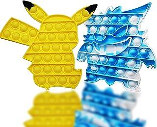 Popits Pas Cher, Pop-It Fidget Toys, 2 Packs Poppit Jeux pour Anti Stress Enfant ou Adulte, Pop Pokémon Simple Popit Bubbl...
