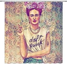 Cortinas De Baño,Pintura Al Óleo Mujer Cortina De Ducha Retro Amarillo Rosa Frida Kahlo Cool Accesorios De Decoración De Baño Personalidad Simple Tela De Poliéster Cortinas Impermeables 183X183Cm