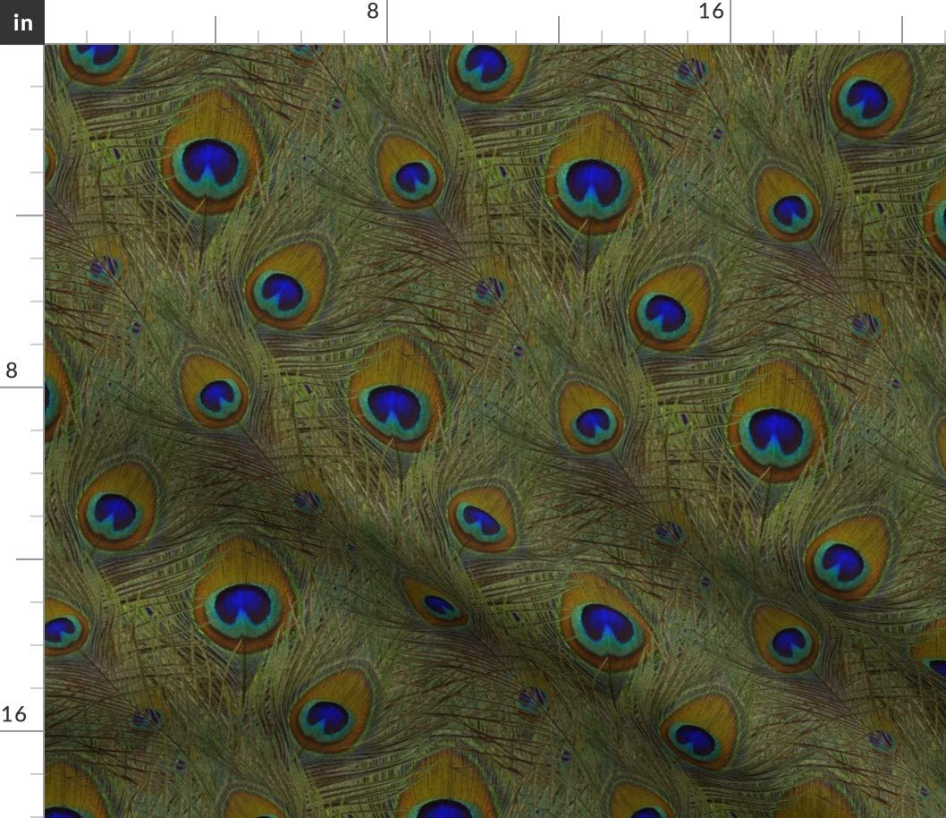 Spoonflower Fabric 贈物 待望 - Green Peacock El Feathers Photographic Bold