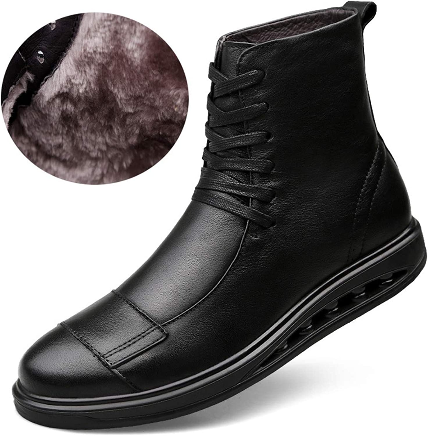 Men's Outdoor Artificial Leather Military Boots Lace UP Rubber Soles Tooling Boots,Single shoes & Plus Cotton,Blackpluscotton,42