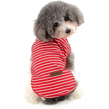 RANPHY縞柄ペット服 柔らかい 綿製Tシャツ 愛犬 小型犬 可愛い半袖 タンクトップ 両足のペット服 春夏プルオーバー 犬用 わんこ服 通気 散歩 お出かけ 吸水 速乾 ベス ト ペット用品(レッド M)