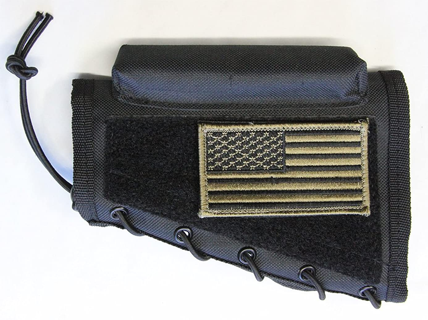 M1SURPLUS Black Color Cheek Rest + Patriot USA Flag Morale Patch + Detachable Pouch Fits Ruger 10/22 77/22 M77 American Mini14 Mini30 Ranch Gunsite Scout Rifle