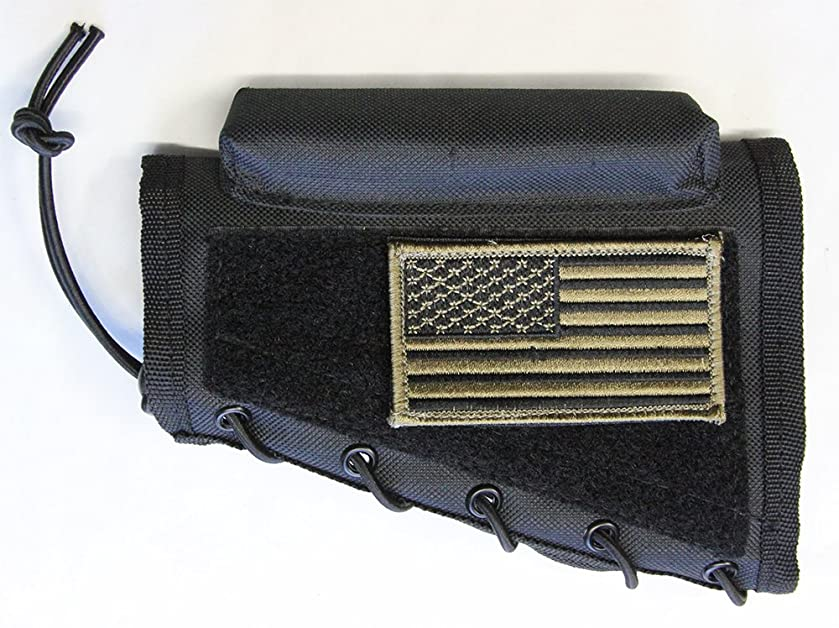 M1SURPLUS Black Cheek Rest + Patriot USA Flag Morale Patch + Detachable Pouch Fits Savage AXIS A17 A22 10/110 11/111 22 220 64 93 93R17 Mark I II Landry Rascal Ruger 10/22 Mini14 Mini30 77/22 Scout