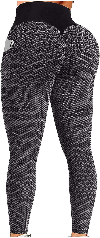 TIK Tok Leggings,Women High Waisted Yoga Pants Butt Lift Ruched Scrunch Butt Leggings Workout Tummy Control Booty Tights