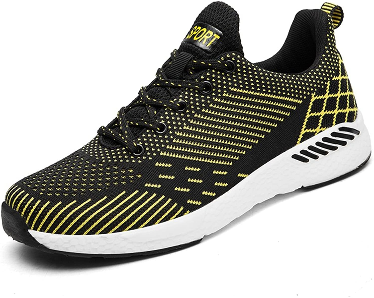 Battle Men Men's and Women's Athletic Sneakers Casual Style Summer Mesh Breathable Flying Weave A Couple of Running Sneaker Fashion (color   Yellow, Size   9.5 D(M) US)