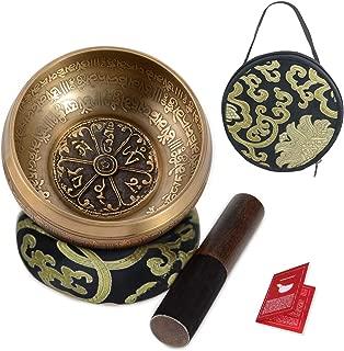 SHANSHUI 5'' Tibetan Singing Bowl Set, Nepal Antique Bronze Mantra Carving Hand Hammered, Sound For Yoga Chakras Healing Meditation Zen With Leather Striker Surface Mallet and Silk Cushion Gift -Black