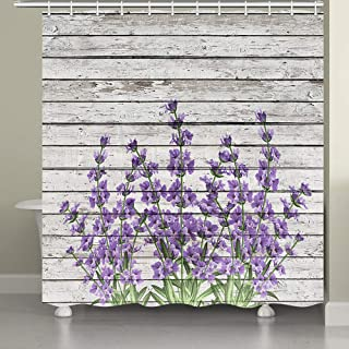 JAWO Flower Shower Curtain for Bathroom,Retro Style Purple Flowers on Vintage Wood Background Rustic Bathroom Accessories Fabric Bathroom Curtain with Shower Curtain Hooks