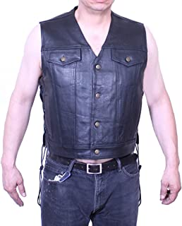 Dona Michi Soft Cow Leather Motorcycle Mens Sleeveless Jean Jacket Style Leather Vest