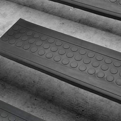 casa pura Set de marchettes d'escalier antidérapantes en caoutchouc noir | autocollantes et résistantes - usage à l'intérieur et extérieur | 25x75cm - 10 pièces