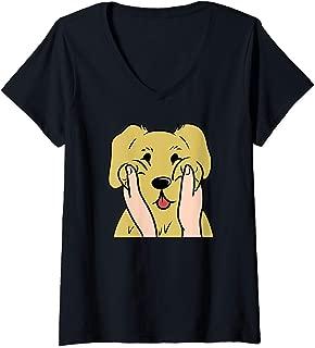 Womens Golden Retriever Chubby Cheeks Funny Dog Gift  V-Neck T-Shirt